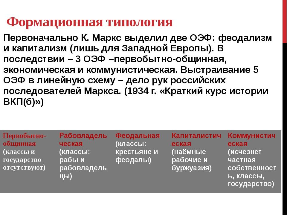 Формационная типология Первоначально К. Маркс выделил две ОЭФ: феодализм и ка...