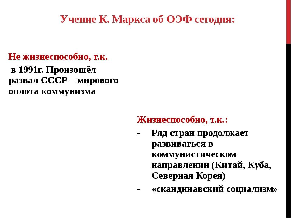 Учение К. Маркса об ОЭФ сегодня: Не жизнеспособно, т.к. в 1991г. Произошёл ра...