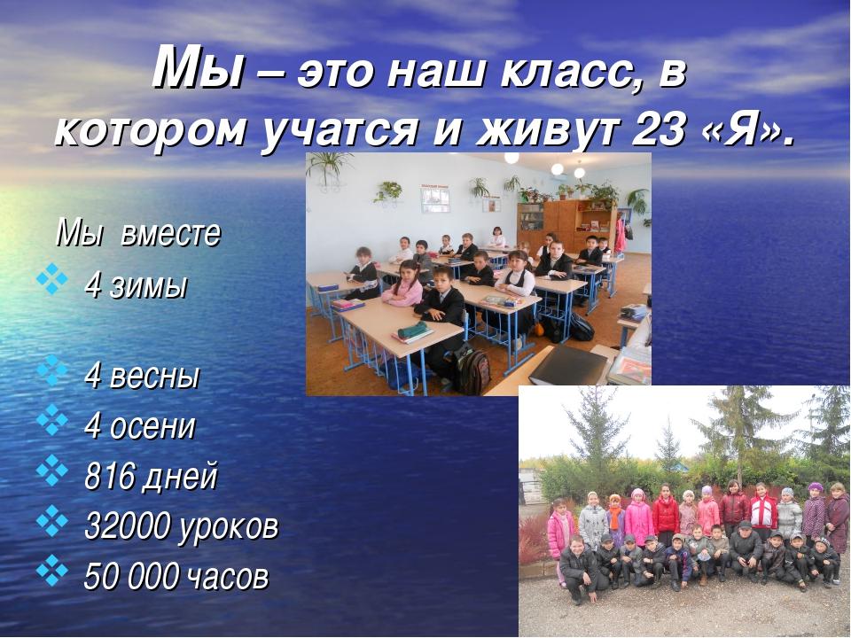 Мы – это наш класс, в котором учатся и живут 23 «Я». Мы вместе 4 зимы 4 весн...
