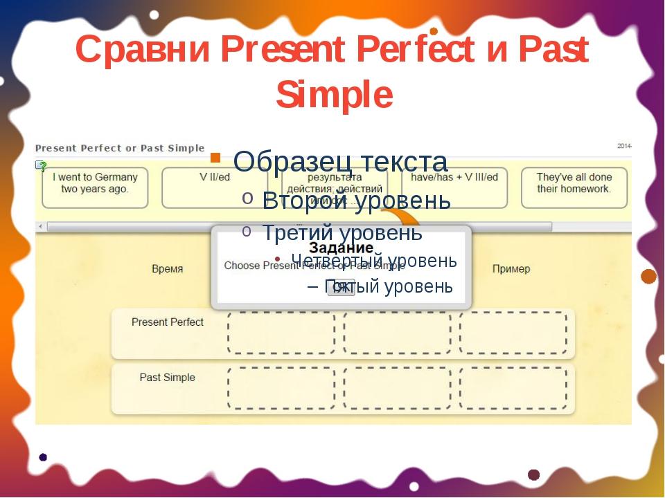 Сравни Present Perfect и Past Simple ОБРАЗЕЦ ЗАГОЛОВКА