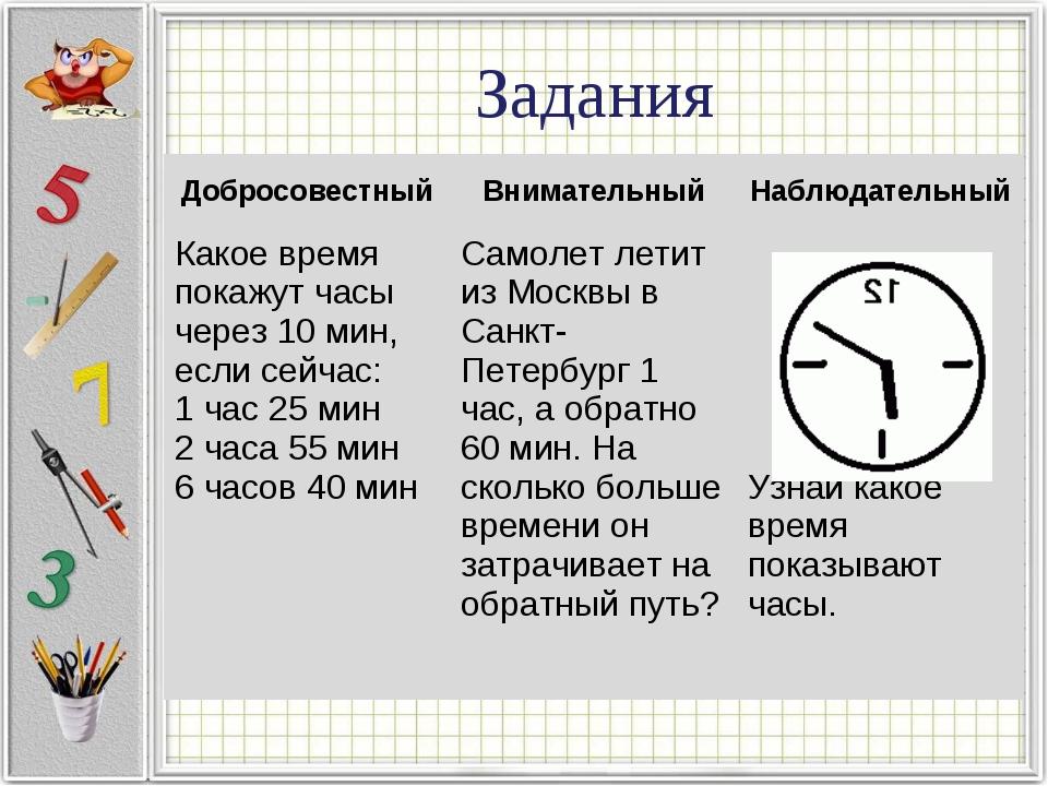 Задания ДобросовестныйВнимательныйНаблюдательный Какое время покажут часы ч...