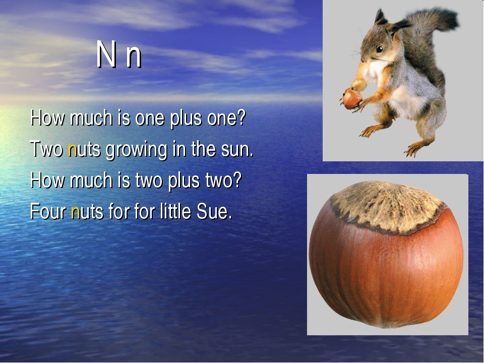N n How much is one plus one? Two nuts growing in the sun. How much is two p