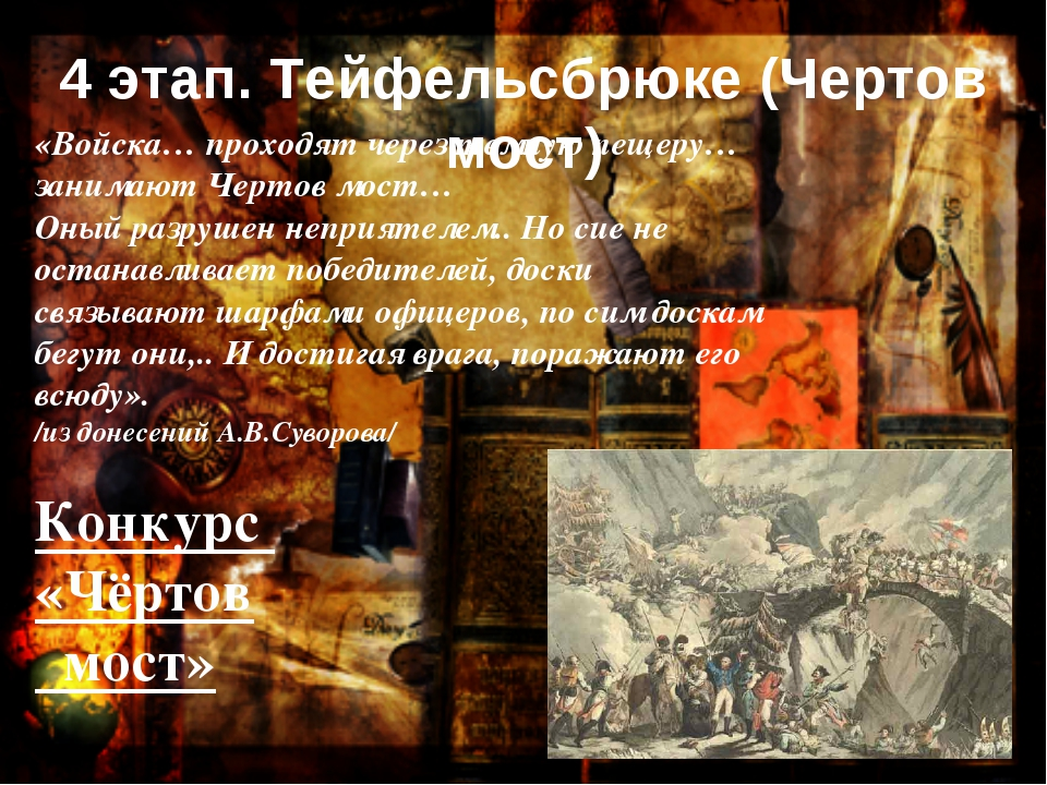 «Войска… проходят через темную пещеру…занимают Чертов мост… Оный разрушен неп...
