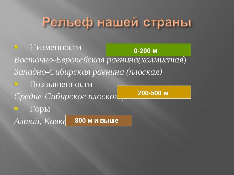 Низменности Восточно-Европейская равнина(холмистая) Западно-Сибирская равнина...