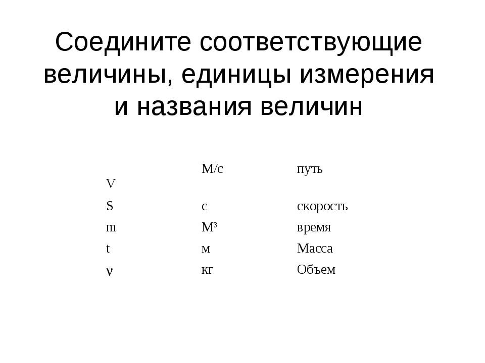 Соедините соответствующие величины, единицы измерения и названия величин VМ/...