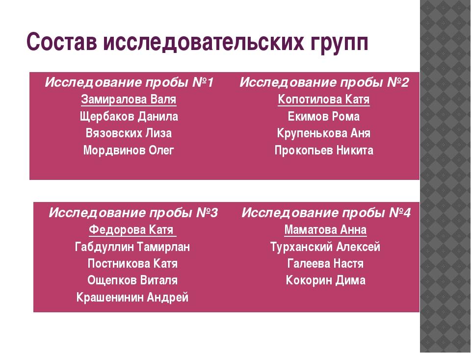 Состав исследовательских групп Исследованиепробы №1 Замиралова Валя Щербаков...