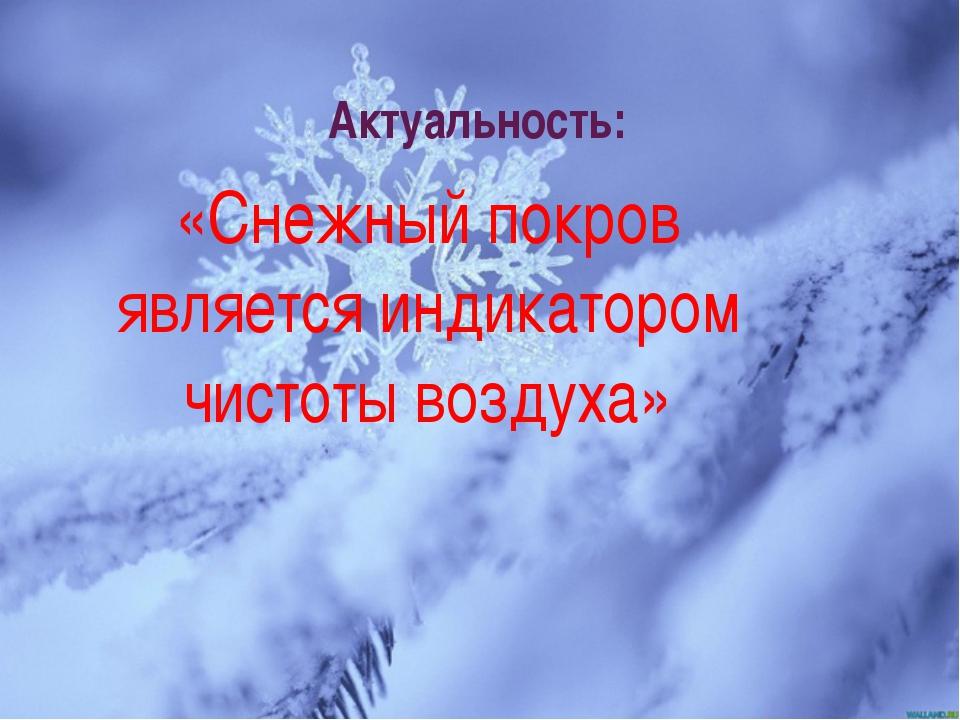 Актуальность: «Снежный покров является индикатором чистоты воздуха»