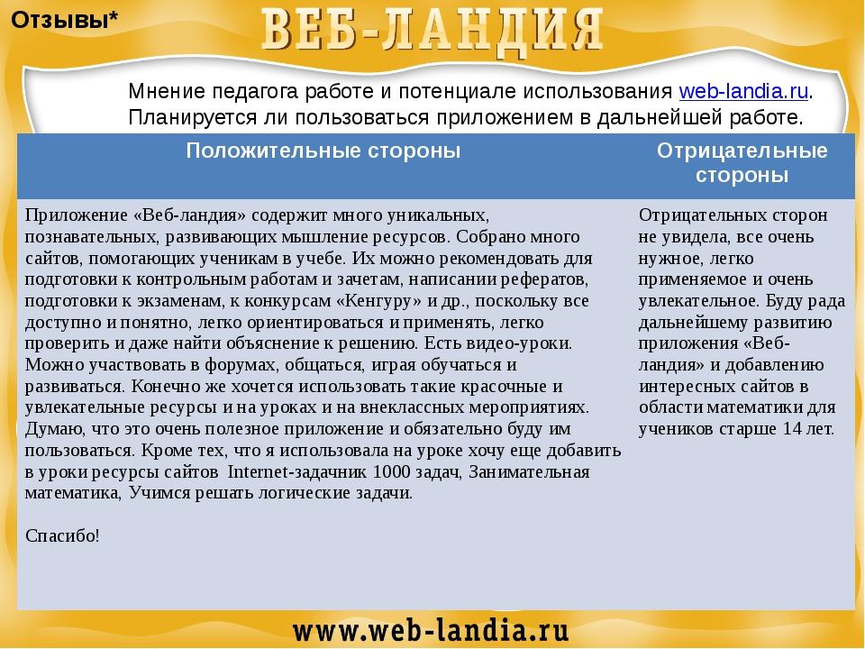 Отзывы* Мнение педагога работе и потенциале использования web-landia.ru. План...
