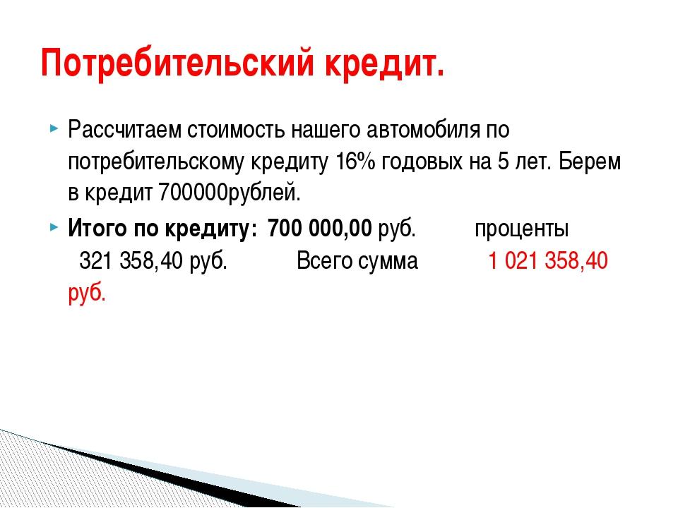 Кредит 700000 на 5 лет