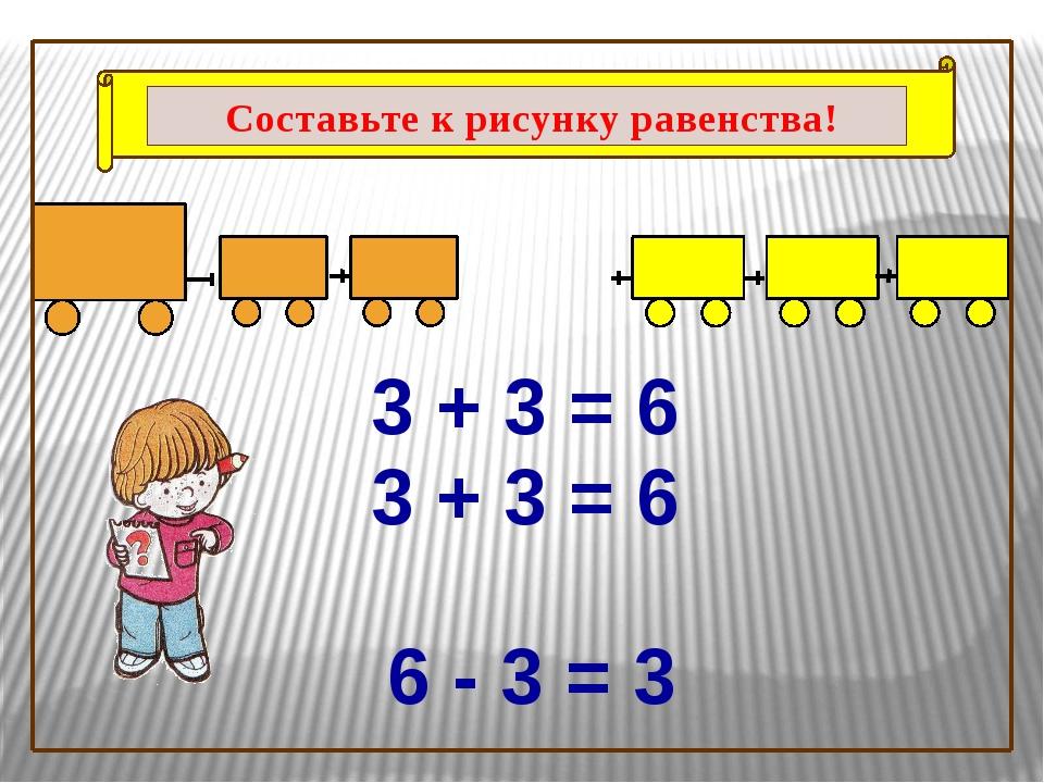 3 + 3 = 6 3 + 3 = 6 6 - 3 = 3 Составьте к рисунку равенства!