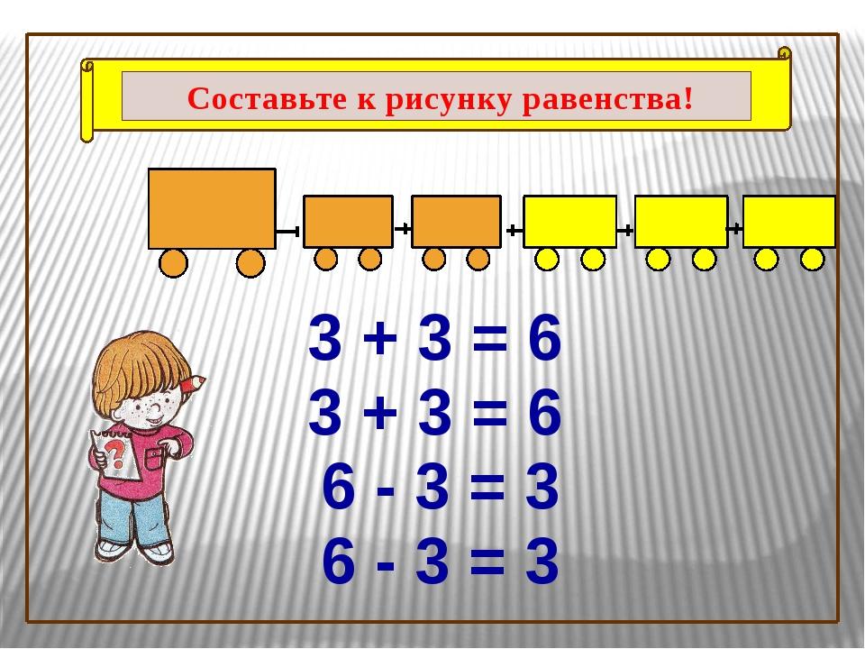 3 + 3 = 6 3 + 3 = 6 6 - 3 = 3 6 - 3 = 3 Составьте к рисунку равенства!