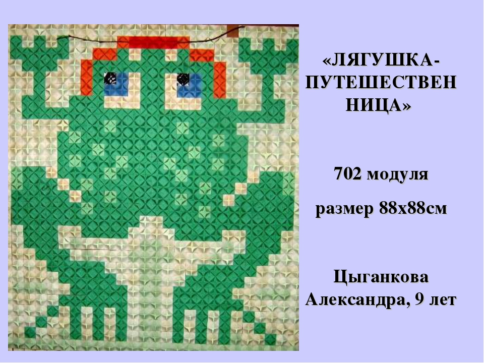 «ЛЯГУШКА-ПУТЕШЕСТВЕННИЦА» 702 модуля размер 88х88см Цыганкова Александра, 9 лет