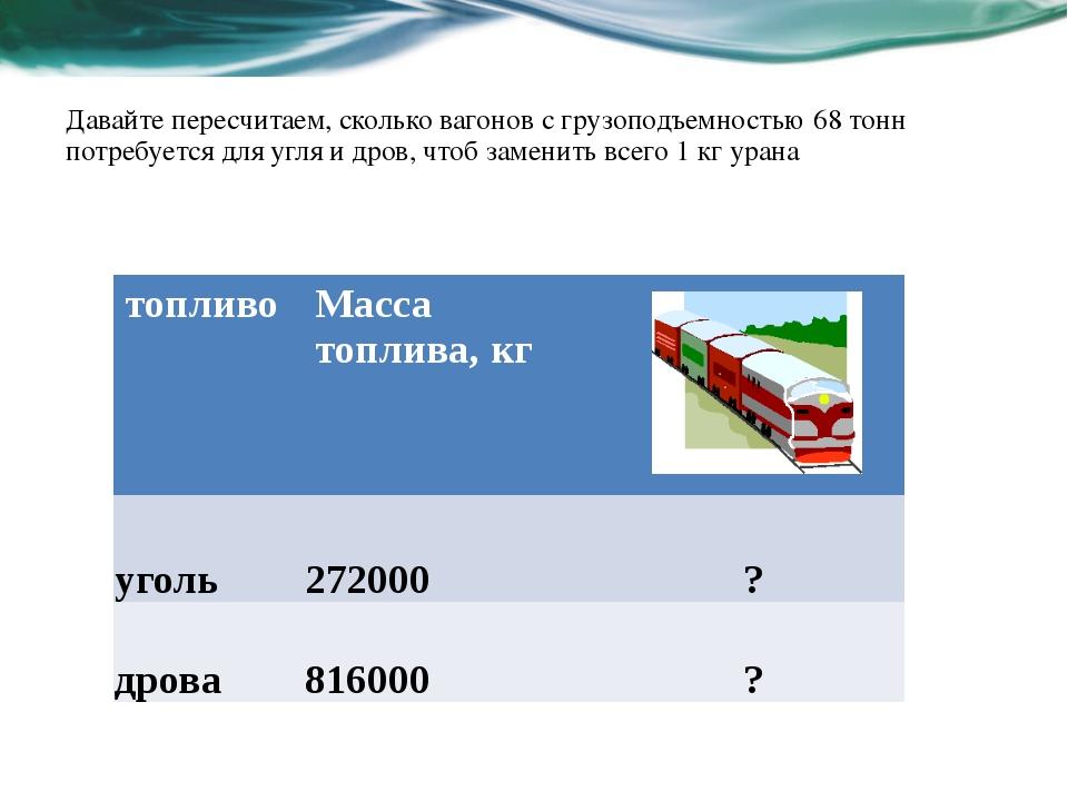 Давайте пересчитаем, сколько вагонов с грузоподъемностью 68 тонн потребуется...