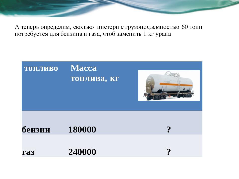 А теперь определим, сколько цистерн с грузоподъемностью 60 тонн потребуется д...