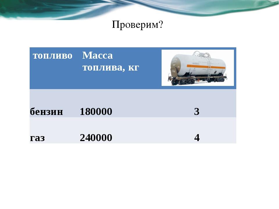 Проверим? топливо Масса топлива, кг бензин 180000 3 газ 240000 4 .