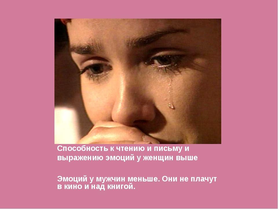 Способность к чтению и письму и выражению эмоций у женщин выше Эмоций у мужчи...