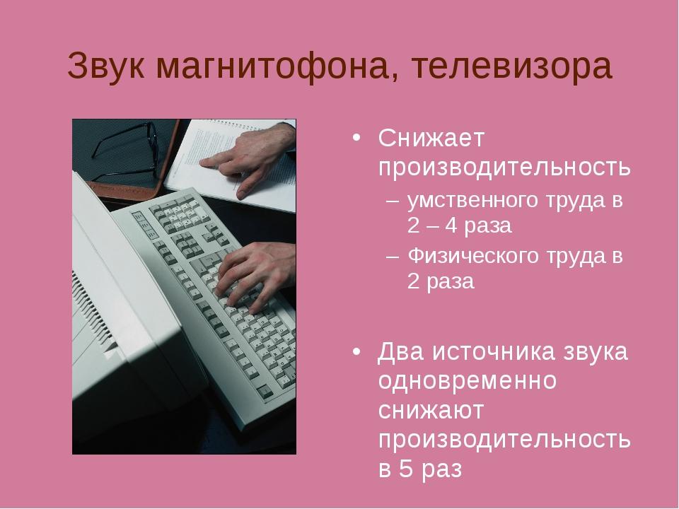 Звук магнитофона, телевизора Снижает производительность умственного труда в 2...