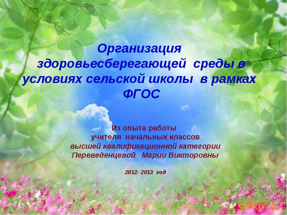 Организация здоровьесберегающей среды в условиях сельской школы в рамках ФГОС...