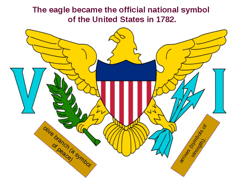 olive branch (a symbol of peace) arrows (symbols of strength). The eagle beca...