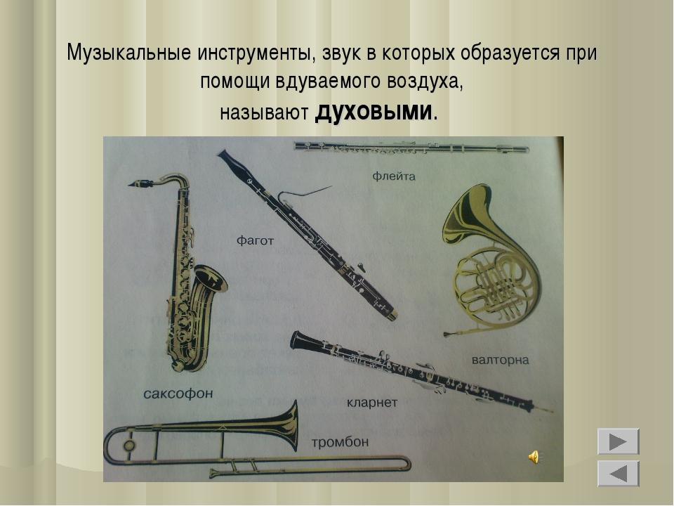 Музыкальные инструменты, звук в которых образуется при помощи вдуваемого возд...