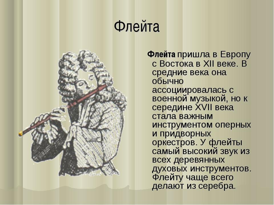 Флейта Флейта пришла в Европу с Востока в XII веке. В средние века она обычно...