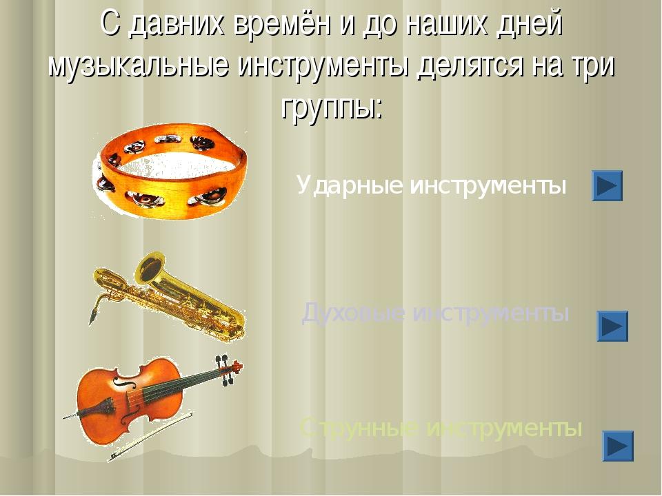 С давних времён и до наших дней музыкальные инструменты делятся на три группы...