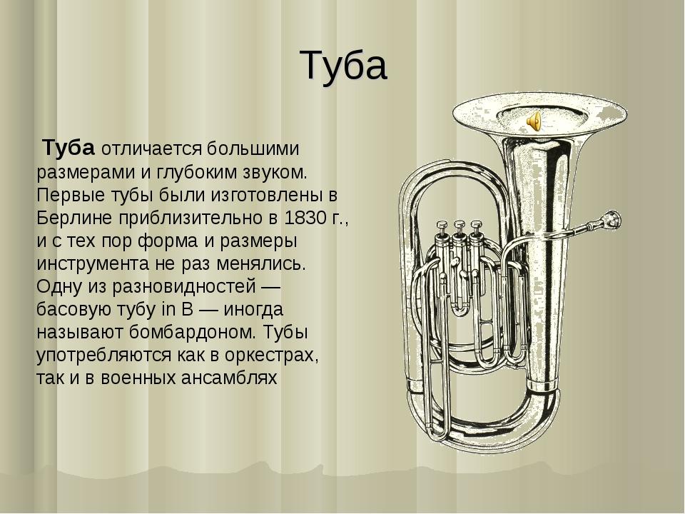 Туба Туба отличается большими размерами и глубоким звуком. Первые тубы были...