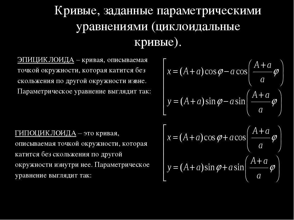 Кривые, заданные параметрическими уравнениями (циклоидальные кривые). ЭПИЦИКЛ...