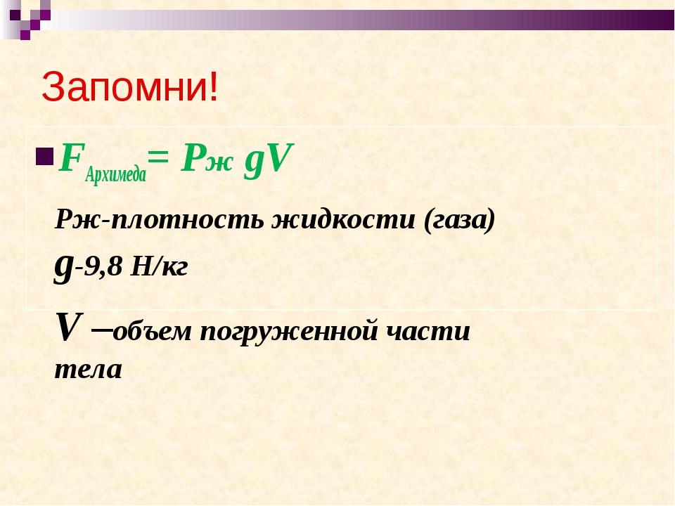 Запомни! FАрхимеда= Рж gV Рж-плотность жидкости (газа) g-9,8 Н/кг V –объем по...
