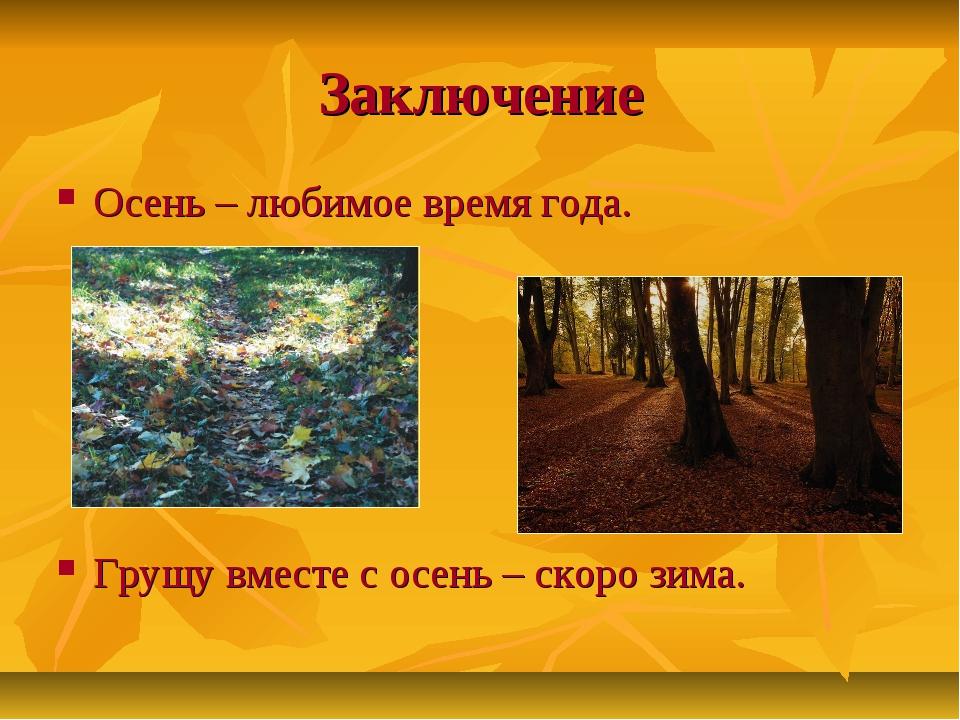 Заключение Осень – любимое время года. Грущу вместе с осень – скоро зима.
