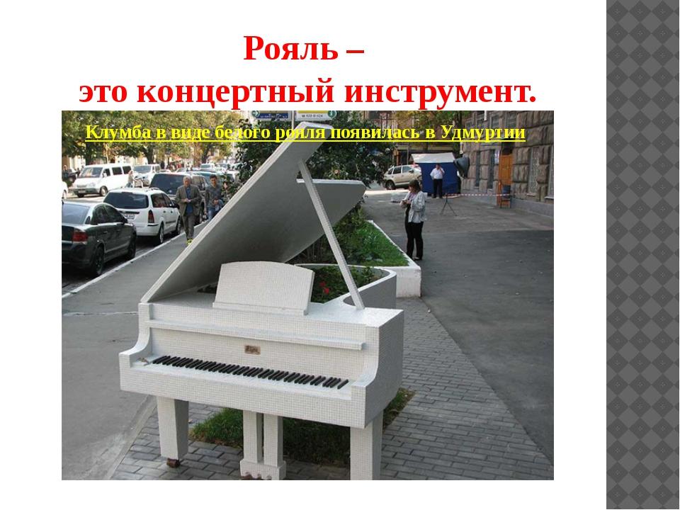 Рояль – это концертный инструмент. Клумба в виде белого рояля появилась в Удм...