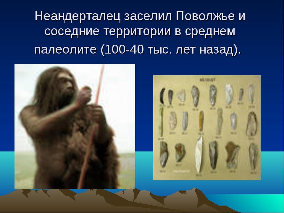 Неандерталец заселил Поволжье и соседние территории в среднем палеолите (100-...