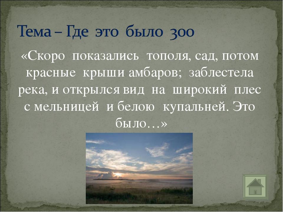 «Скоро показались тополя, сад, потом красные крыши амбаров; заблестела река,...