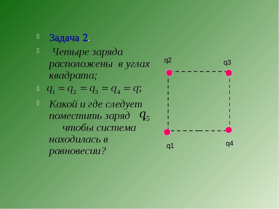 Задача 2. Четыре заряда расположены в углах квадрата; Какой и где следует пом...