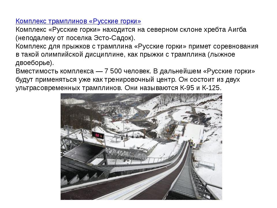 Комплекс трамплинов «Русские горки» Комплекс «Русские горки» находится насев...