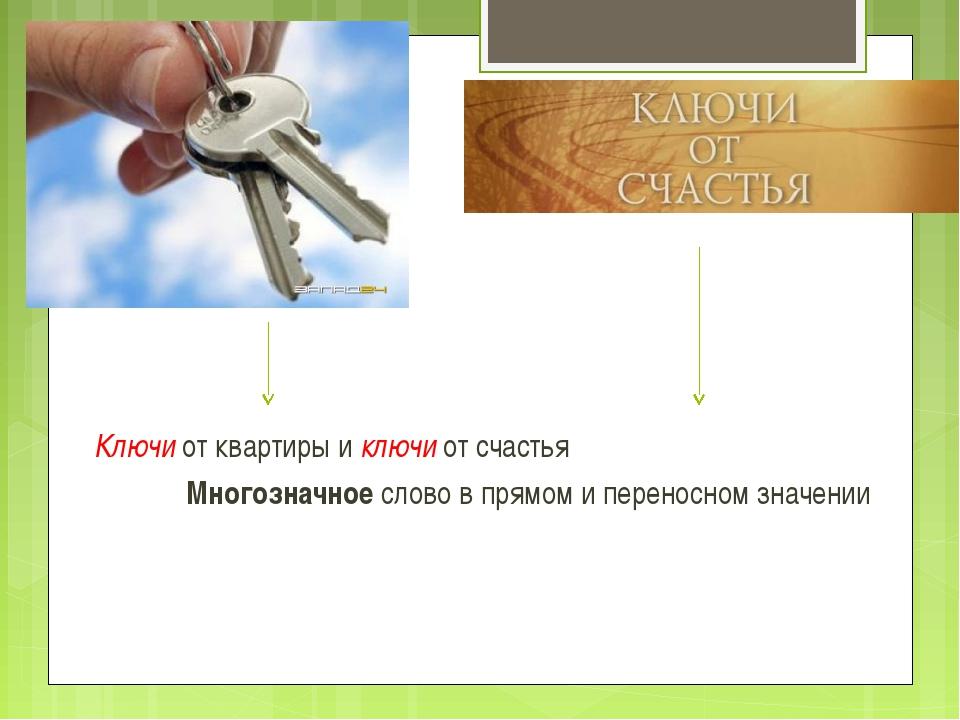 Ключи от квартиры и ключи от счастья Многозначное слово в прямом и переносн...