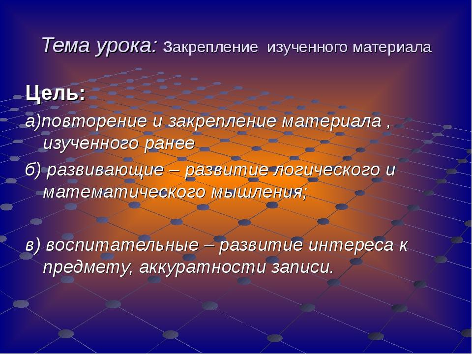 Тема урока: Закрепление изученного материала Цель: а)повторение и закрепление...