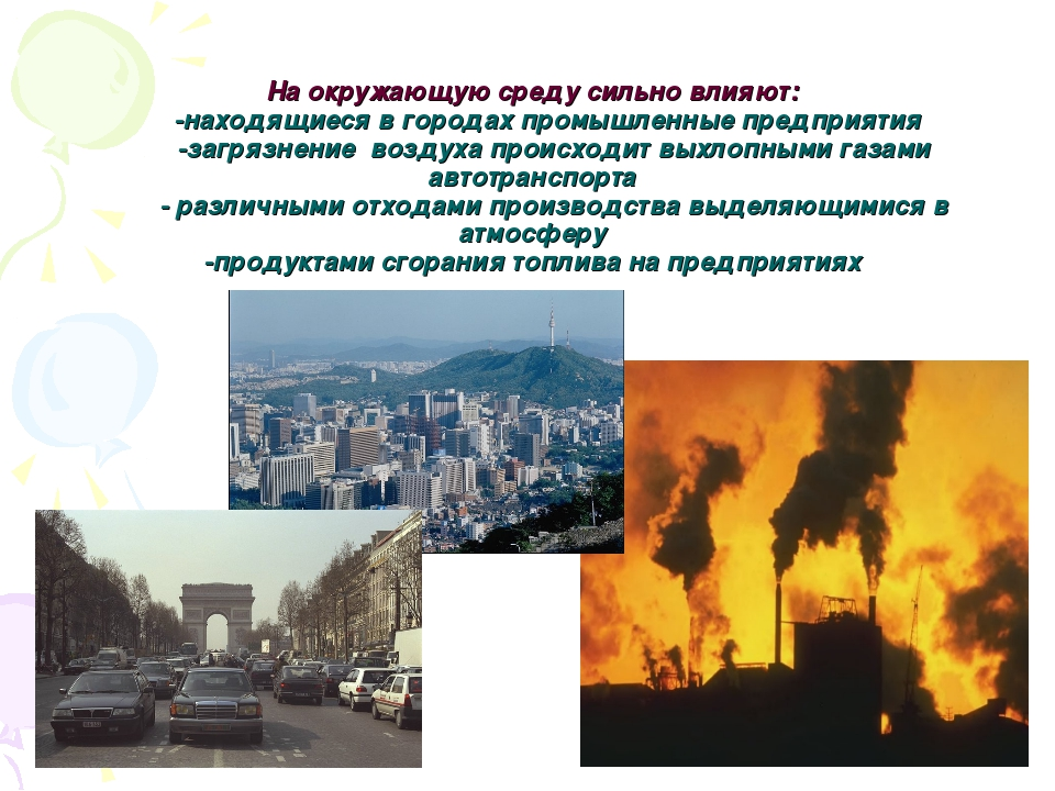 На окружающую среду сильно влияют: -находящиеся в городах промышленные предпр...