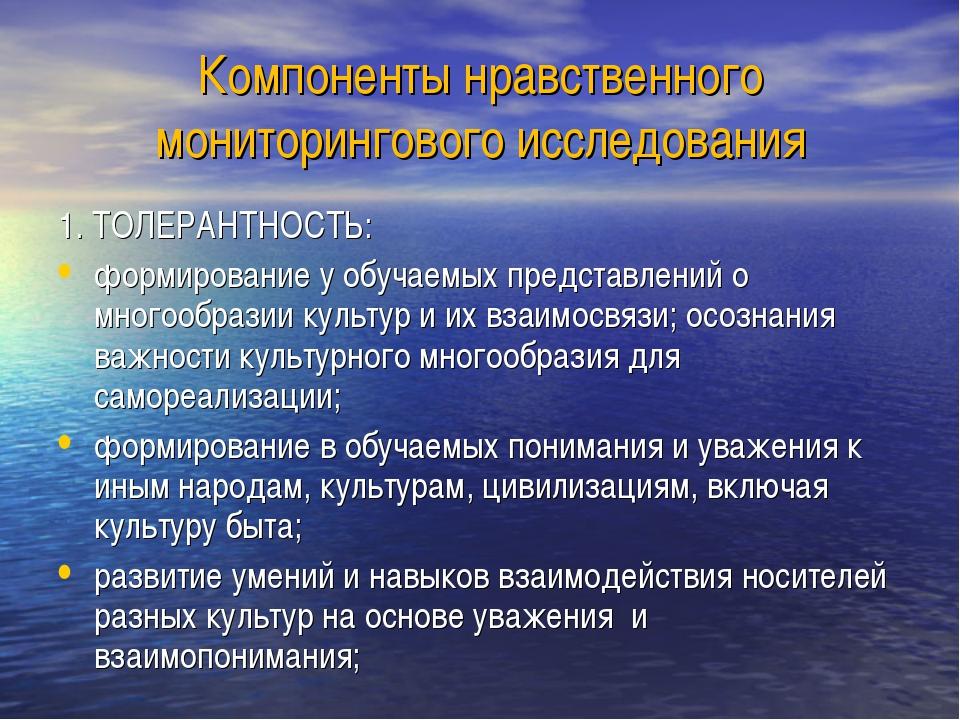 Компоненты нравственного мониторингового исследования 1. ТОЛЕРАНТНОСТЬ: форми...