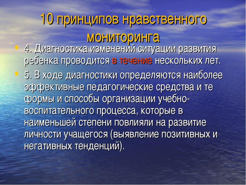 10 принципов нравственного мониторинга 4. Диагностика изменений ситуации разв...