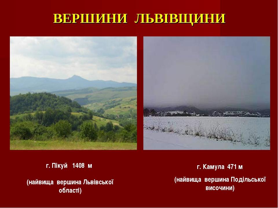 ВЕРШИНИ ЛЬВІВЩИНИ г. Камула 471 м (найвища вершина Подільської височини) г. П...