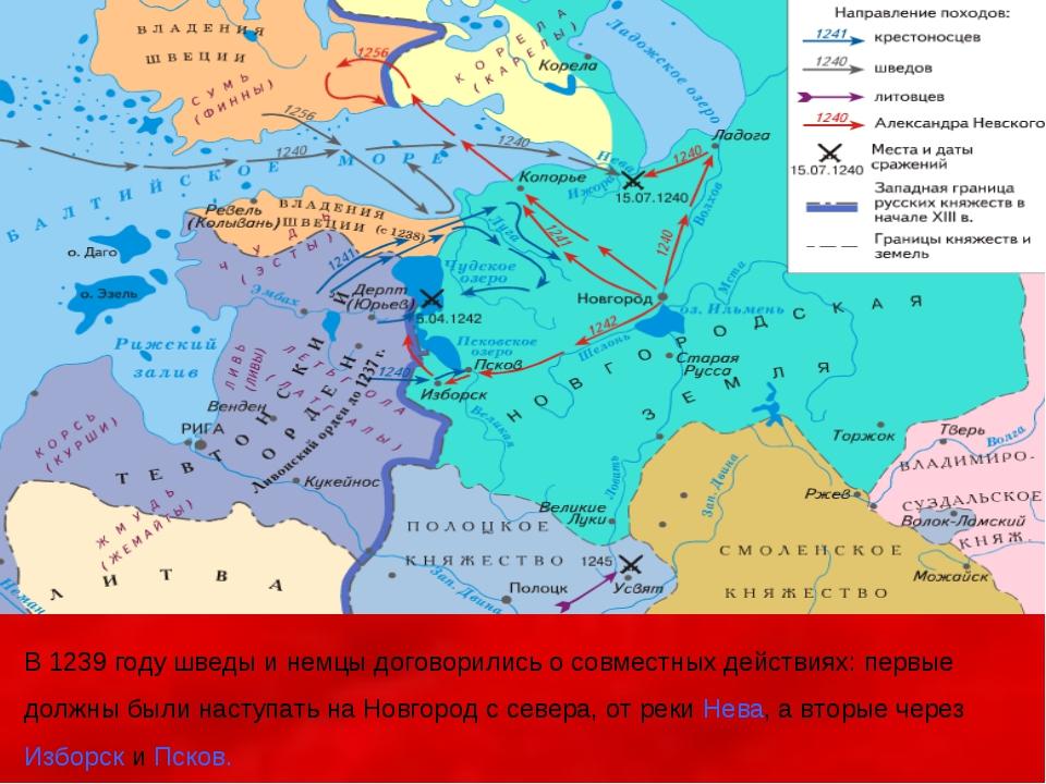 В 1239 году шведы и немцы договорились о совместных действиях: первые должны...