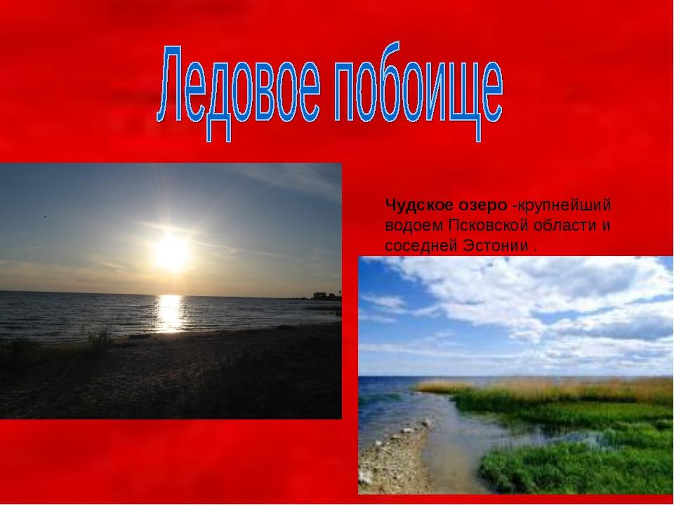 Чудское озеро -крупнейший водоем Псковской области и соседней Эстонии .