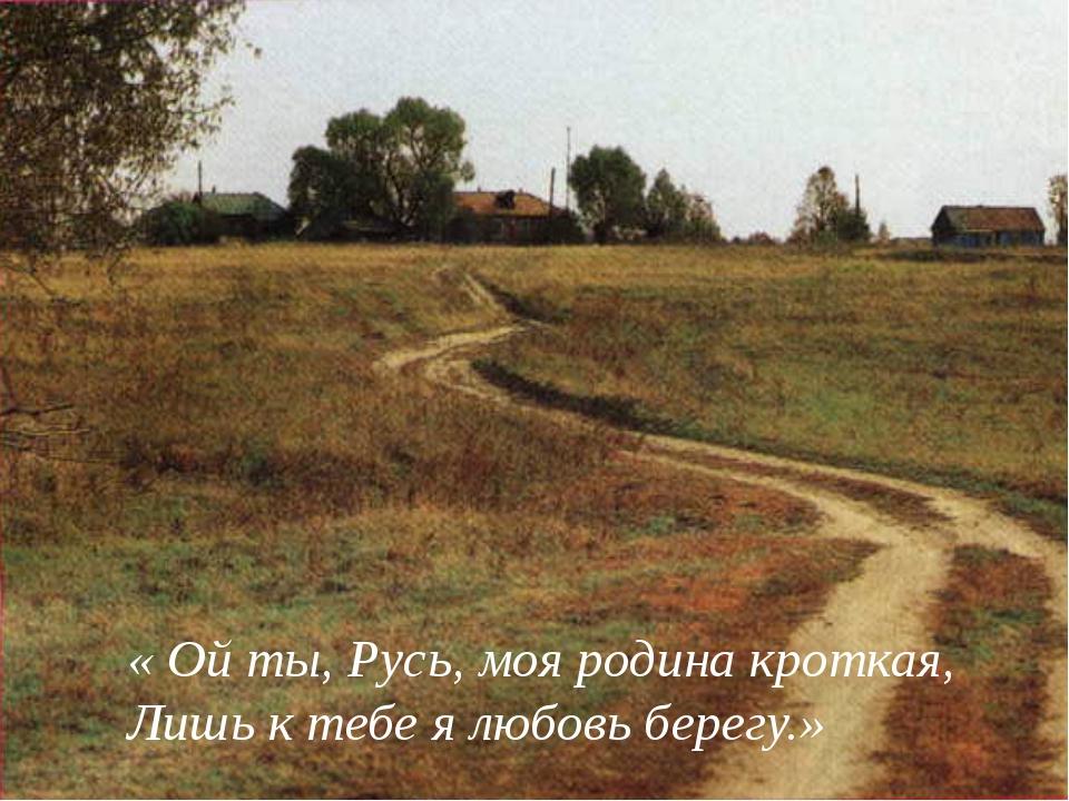 « Ой ты, Русь, моя родина кроткая, Лишь к тебе я любовь берегу.»