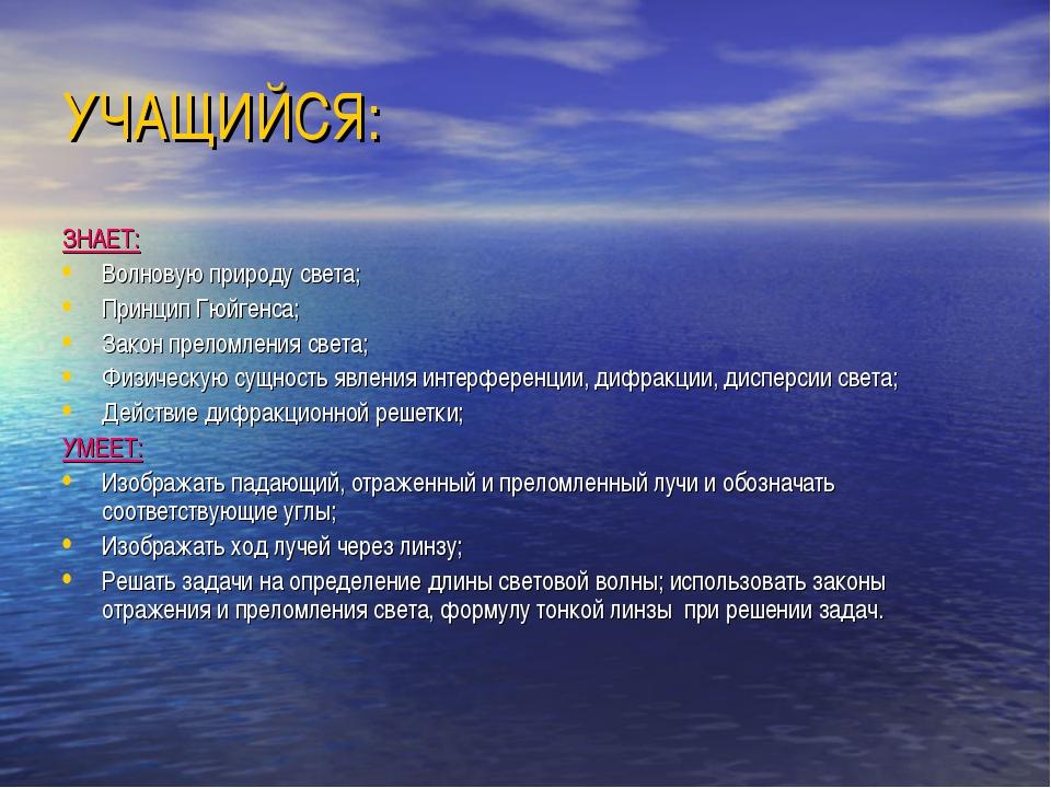 УЧАЩИЙСЯ: ЗНАЕТ: Волновую природу света; Принцип Гюйгенса; Закон преломления...