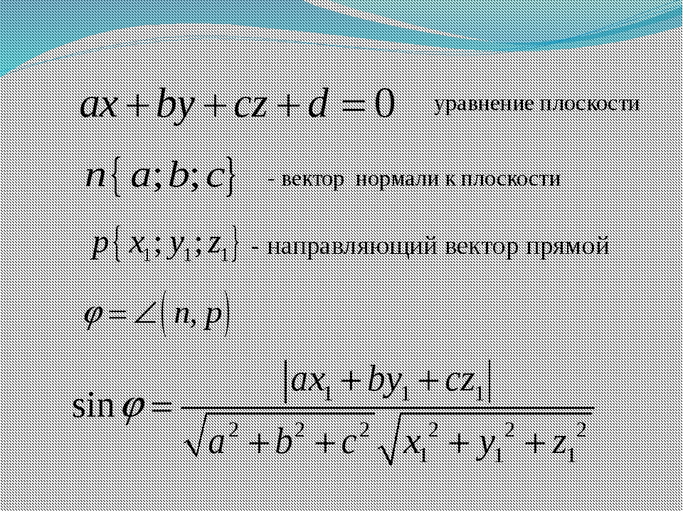 уравнение плоскости - вектор нормали к плоскости - направляющий вектор прямой