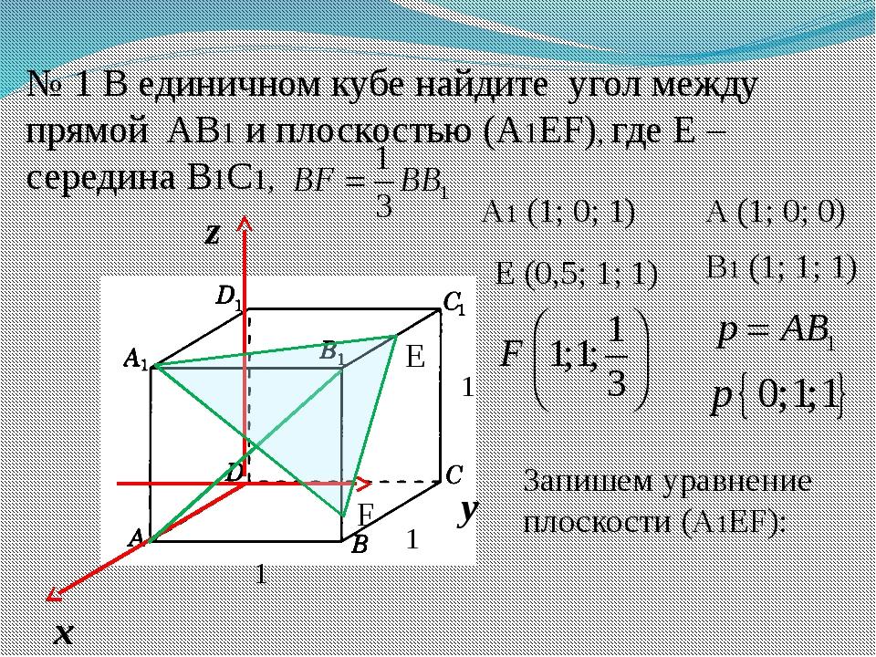 № 1 В единичном кубе найдите угол между прямой AВ1 и плоскостью (А1EF), где Е...