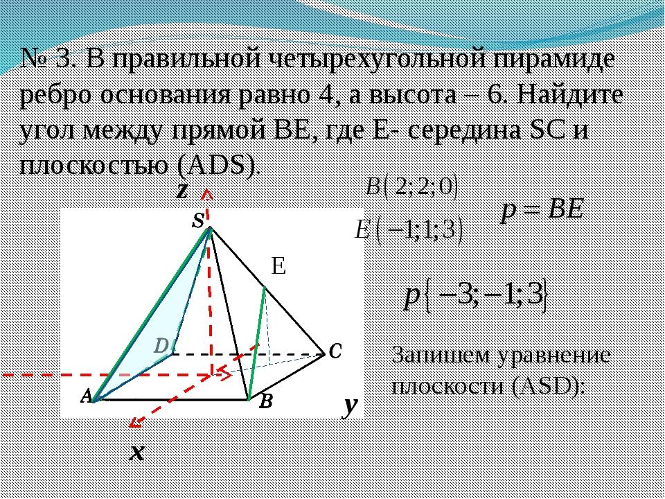 № 3. В правильной четырехугольной пирамиде ребро основания равно 4, а высота...