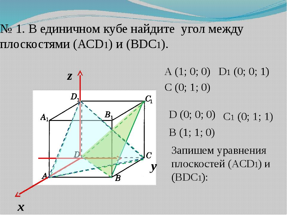 № 1. В единичном кубе найдите угол между плоскостями (АСD1) и (ВDC1). A (1; 0...