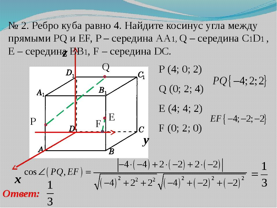 № 2. Ребро куба равно 4. Найдите косинус угла между прямыми PQ и EF, P – сере...
